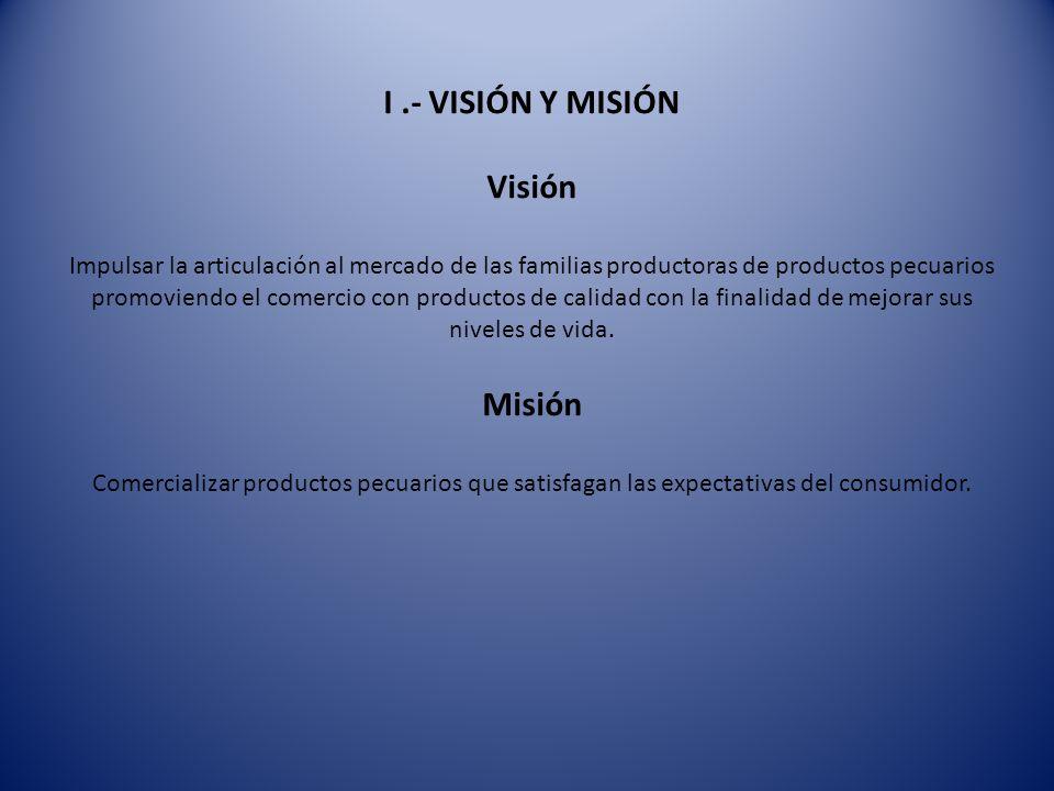 I.- VISIÓN Y MISIÓN Visión Impulsar la articulación al mercado de las familias productoras de productos pecuarios promoviendo el comercio con producto