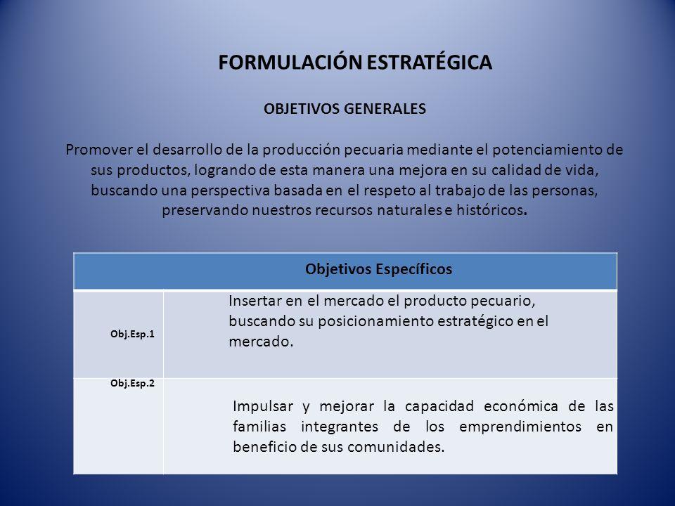 OBJETIVOS GENERALES Promover el desarrollo de la producción pecuaria mediante el potenciamiento de sus productos, logrando de esta manera una mejora e