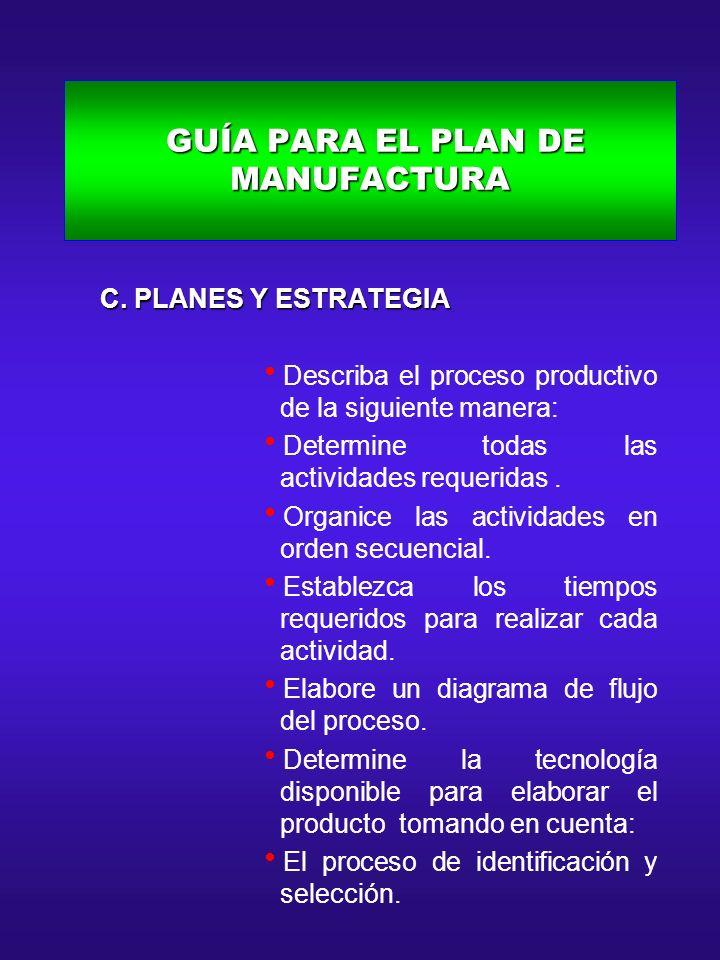 GUÍA PARA EL PLAN DE MANUFACTURA GUÍA PARA EL PLAN DE MANUFACTURA C. PLANES Y ESTRATEGIA C. PLANES Y ESTRATEGIA Describa el proceso productivo de la s