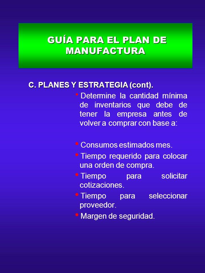 GUÍA PARA EL PLAN DE MANUFACTURA GUÍA PARA EL PLAN DE MANUFACTURA C. PLANES Y ESTRATEGIA (cont). C. PLANES Y ESTRATEGIA (cont). Determine la cantidad