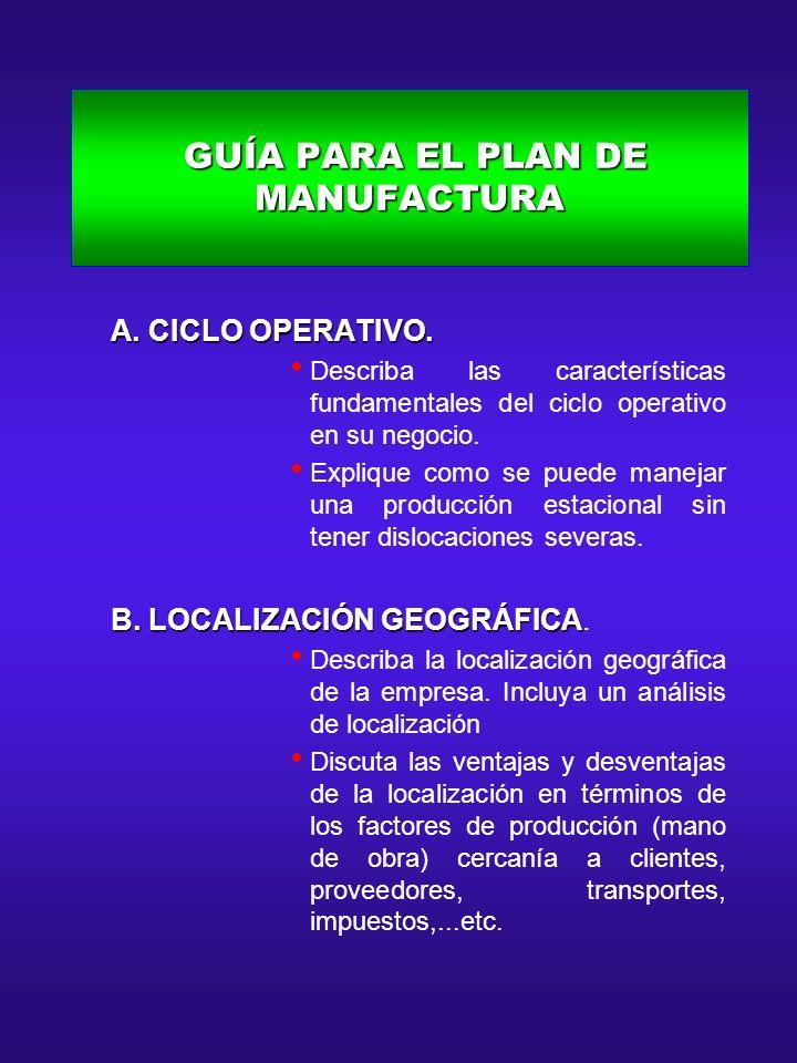 GUÍA PARA EL PLAN DE MANUFACTURA GUÍA PARA EL PLAN DE MANUFACTURA A. CICLO OPERATIVO. A. CICLO OPERATIVO. Describa las características fundamentales d