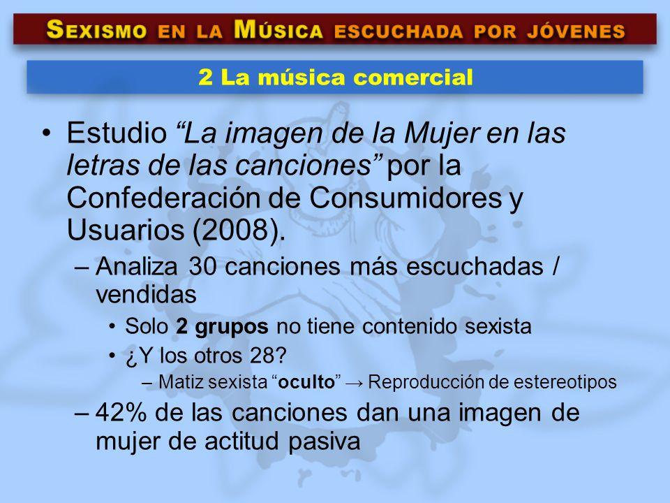 2 La música comercial Estudio La imagen de la Mujer en las letras de las canciones por la Confederación de Consumidores y Usuarios (2008). –Analiza 30