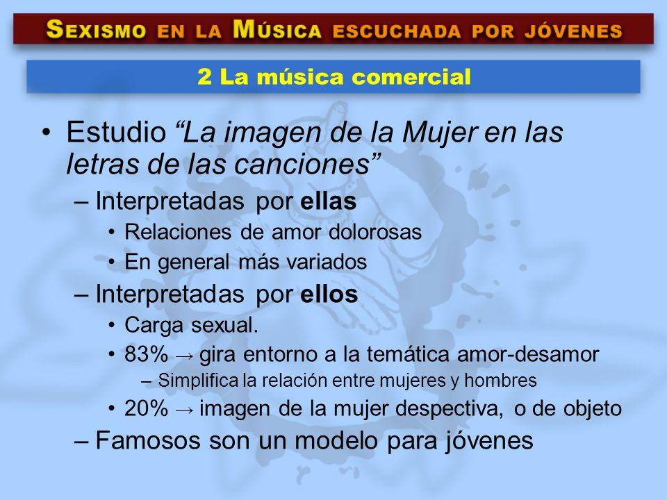 2 La música comercial Estudio La imagen de la Mujer en las letras de las canciones –Interpretadas por ellas Relaciones de amor dolorosas En general má