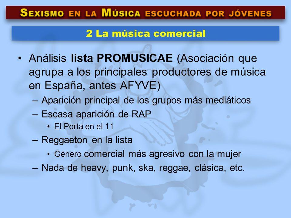 2 La música comercial Análisis lista PROMUSICAE (Asociación que agrupa a los principales productores de música en España, antes AFYVE) –Aparición prin