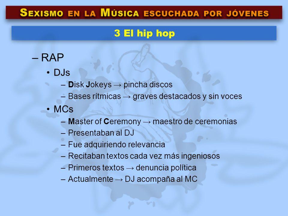 3 El hip hop –RAP DJs –Disk Jokeys pincha discos –Bases rítmicas graves destacados y sin voces MCs –Master of Ceremony maestro de ceremonias –Presenta