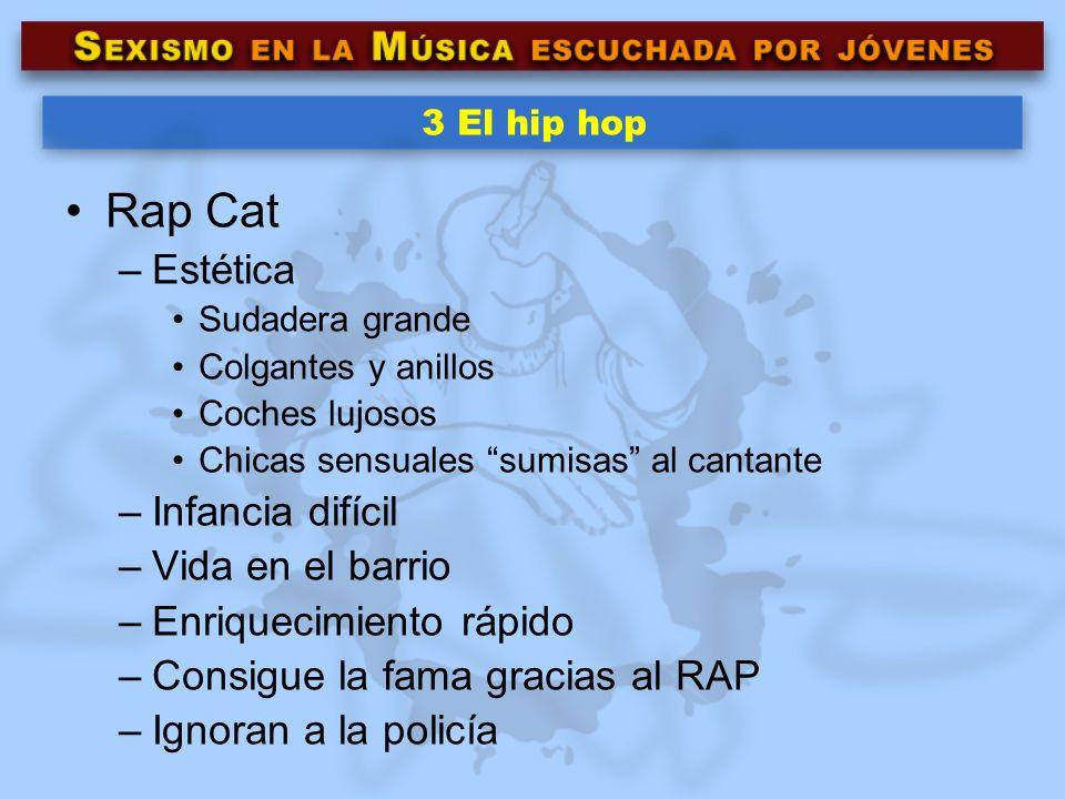 3 El hip hop Rap Cat –Estética Sudadera grande Colgantes y anillos Coches lujosos Chicas sensuales sumisas al cantante –Infancia difícil –Vida en el b