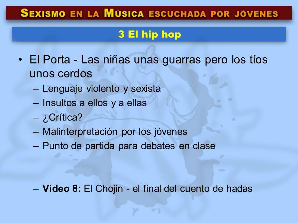 3 El hip hop El Porta - Las niñas unas guarras pero los tíos unos cerdos –Lenguaje violento y sexista –Insultos a ellos y a ellas –¿Crítica? –Malinter