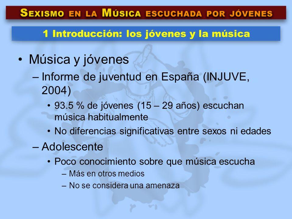 1 Introducción: los jóvenes y la música Música y jóvenes –Informe de juventud en España (INJUVE, 2004) 93.5 % de jóvenes (15 – 29 años) escuchan músic