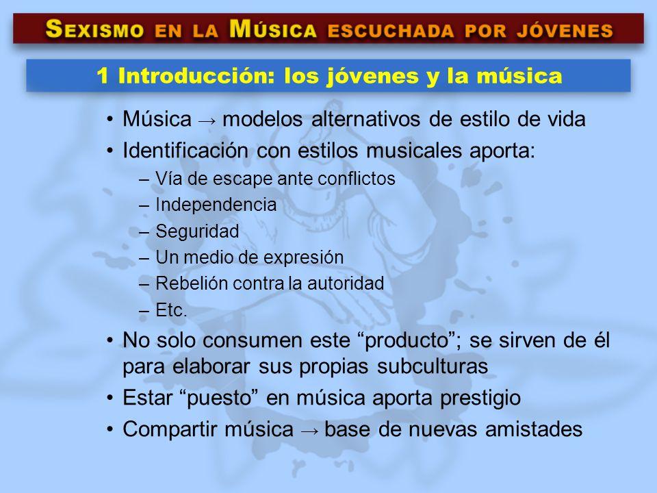 1 Introducción: los jóvenes y la música Música modelos alternativos de estilo de vida Identificación con estilos musicales aporta: –Vía de escape ante