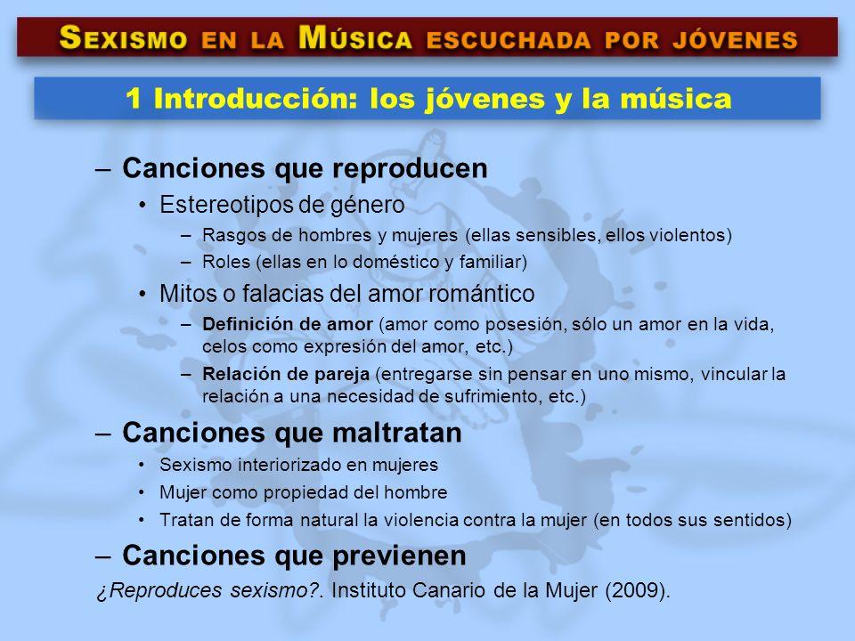 1 Introducción: los jóvenes y la música –Canciones que reproducen Estereotipos de género –Rasgos de hombres y mujeres (ellas sensibles, ellos violento
