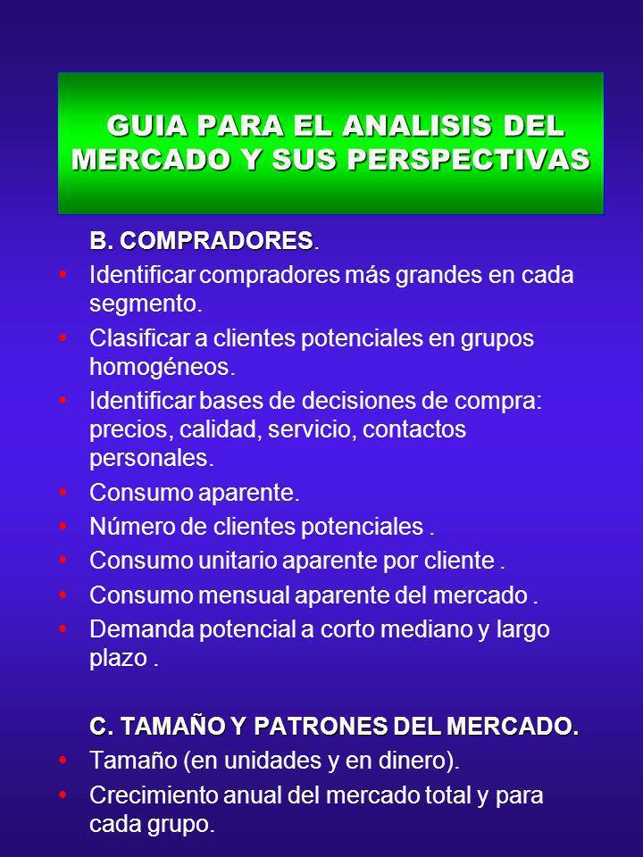 GUIA PARA EL ANALISIS DEL MERCADO Y SUS PERSPECTIVAS GUIA PARA EL ANALISIS DEL MERCADO Y SUS PERSPECTIVAS B. COMPRADORES B. COMPRADORES. Identificar c