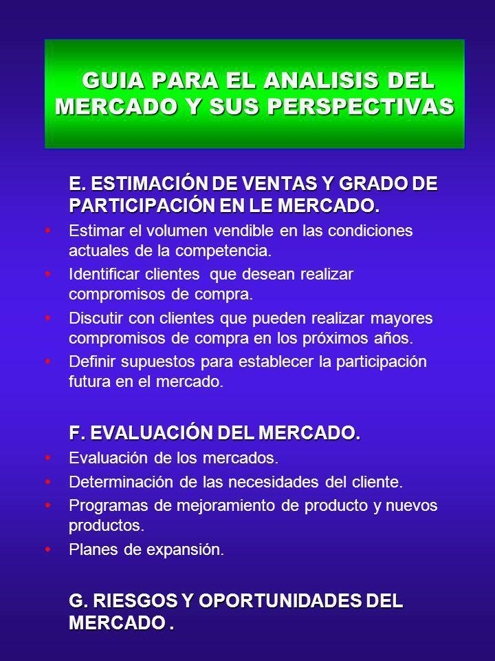 GUIA PARA EL ANALISIS DEL MERCADO Y SUS PERSPECTIVAS GUIA PARA EL ANALISIS DEL MERCADO Y SUS PERSPECTIVAS E. ESTIMACIÓN DE VENTAS Y GRADO DE PARTICIPA