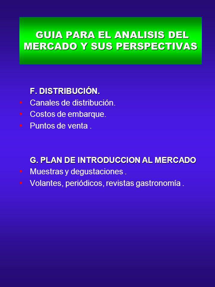 GUIA PARA EL ANALISIS DEL MERCADO Y SUS PERSPECTIVAS GUIA PARA EL ANALISIS DEL MERCADO Y SUS PERSPECTIVAS F. DISTRIBUCIÓN. F. DISTRIBUCIÓN. Canales de