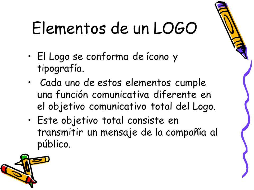 Elementos de un LOGO El Logo se conforma de ícono y tipografía. Cada uno de estos elementos cumple una función comunicativa diferente en el objetivo c
