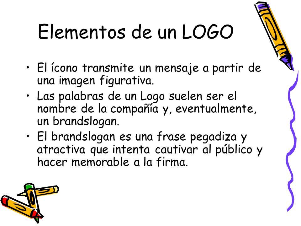 Elementos de un LOGO El ícono transmite un mensaje a partir de una imagen figurativa. Las palabras de un Logo suelen ser el nombre de la compañía y, e