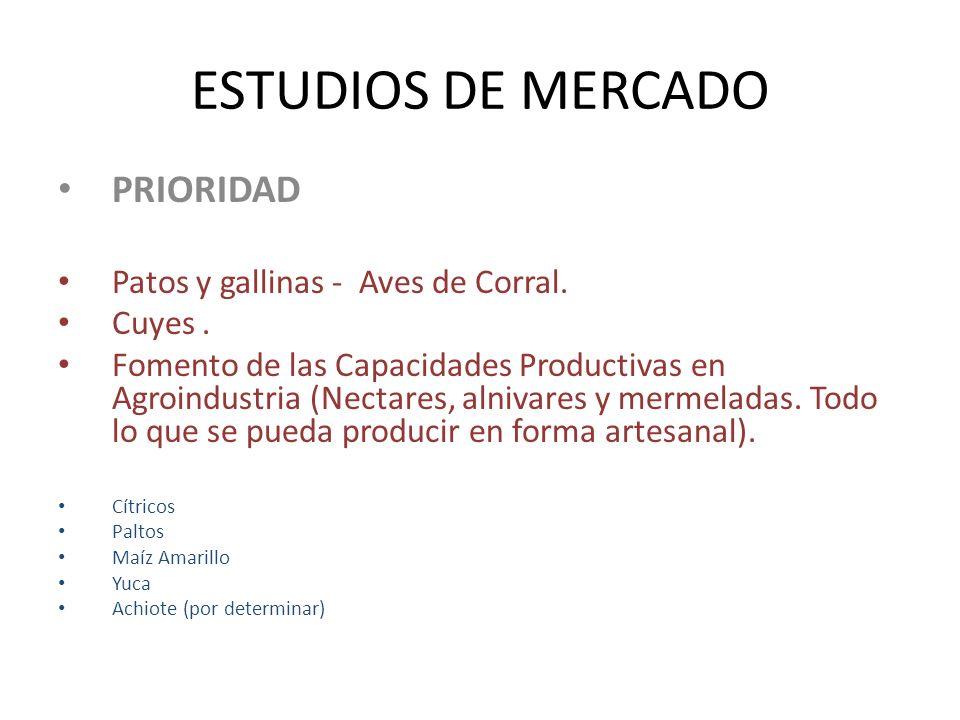ESTUDIOS DE MERCADO PRIORIDAD Patos y gallinas - Aves de Corral. Cuyes. Fomento de las Capacidades Productivas en Agroindustria (Nectares, alnivares y