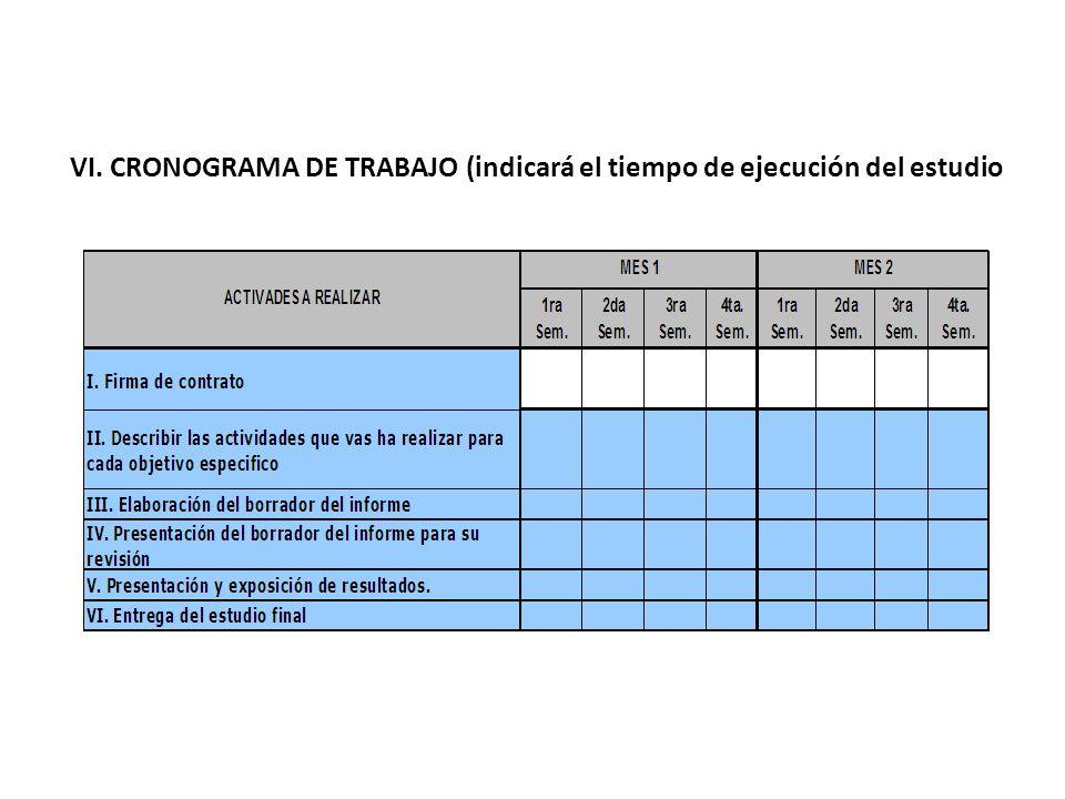 VI. CRONOGRAMA DE TRABAJO (indicará el tiempo de ejecución del estudio