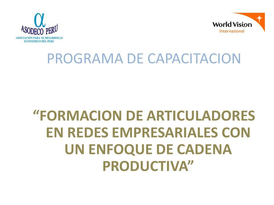 PROGRAMA DE CAPACITACION FORMACION DE ARTICULADORES EN REDES EMPRESARIALES CON UN ENFOQUE DE CADENA PRODUCTIVA