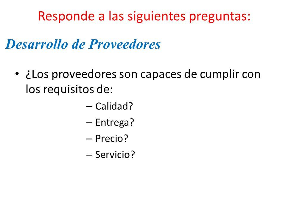 Responde a las siguientes preguntas: ¿Los proveedores son capaces de cumplir con los requisitos de: – Calidad? – Entrega? – Precio? – Servicio? Desarr