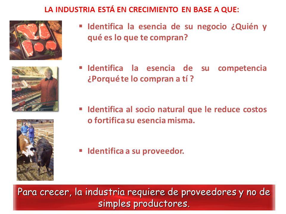 LA INDUSTRIA ESTÁ EN CRECIMIENTO EN BASE A QUE: Para crecer, la industria requiere de proveedores y no de simples productores. Identifica la esencia d