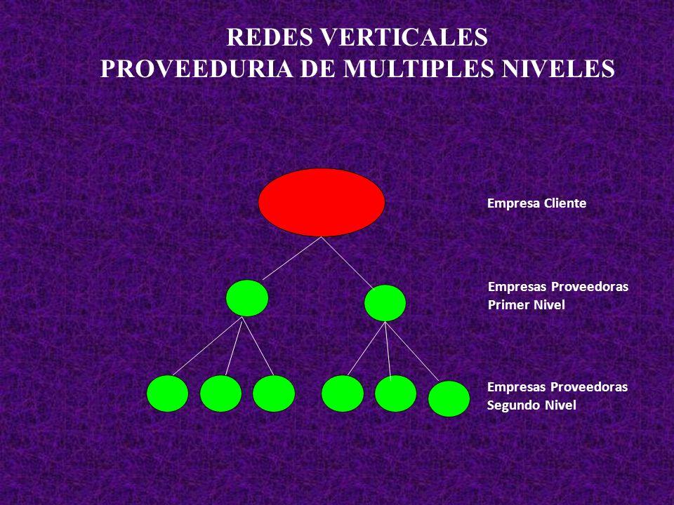 REDES VERTICALES PROVEEDURIA DE MULTIPLES NIVELES Empresa Cliente Empresas Proveedoras Primer Nivel Empresas Proveedoras Segundo Nivel