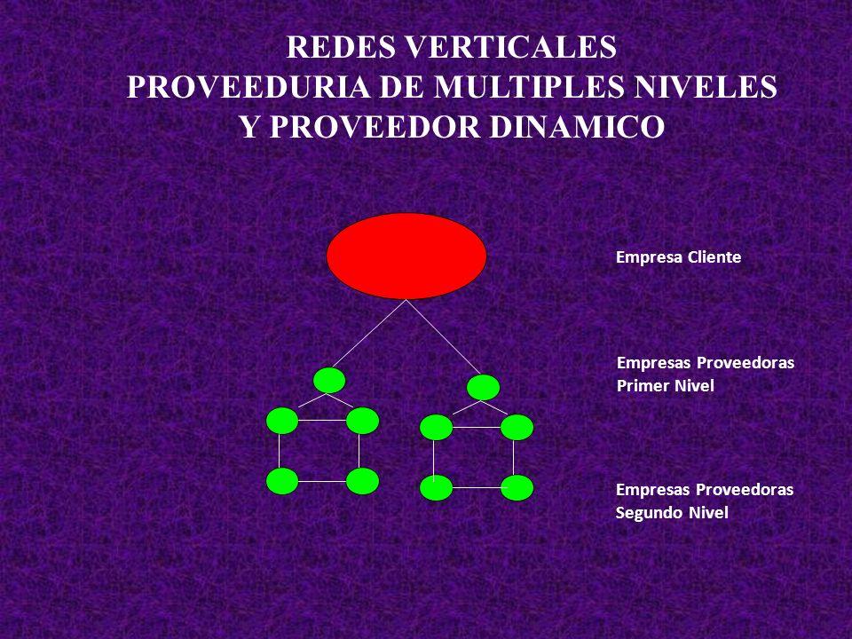 REDES VERTICALES PROVEEDURIA DE MULTIPLES NIVELES Y PROVEEDOR DINAMICO Empresa Cliente Empresas Proveedoras Primer Nivel Empresas Proveedoras Segundo