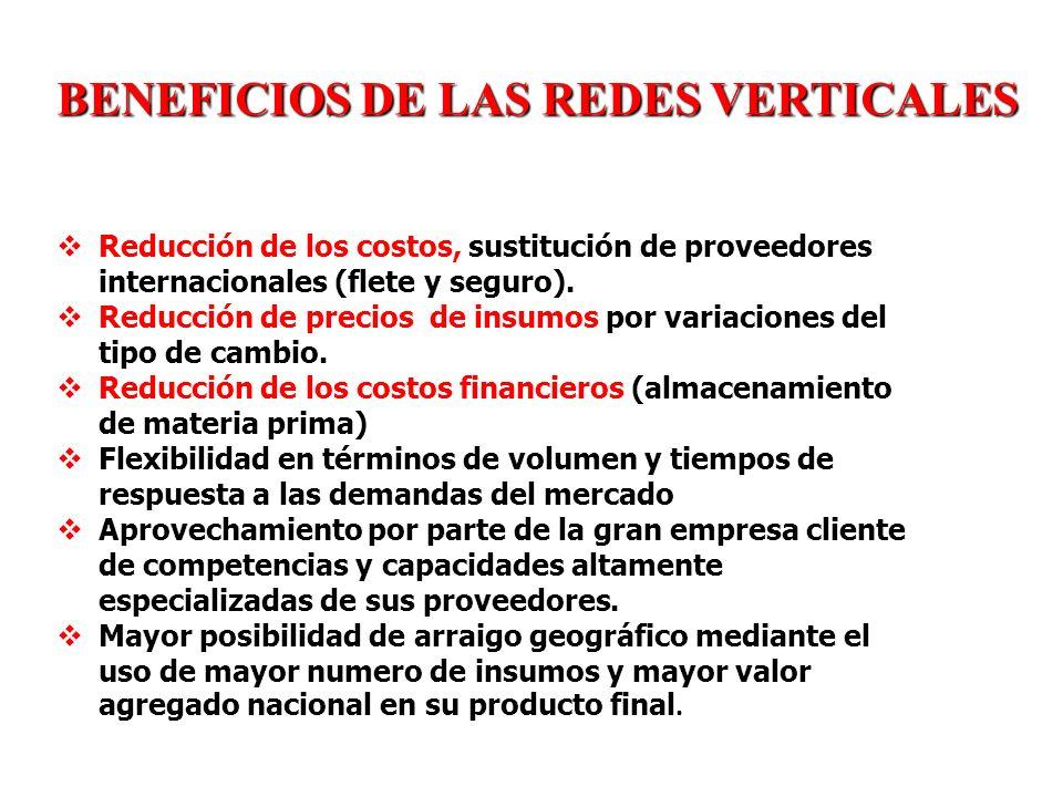 BENEFICIOS DE LAS REDES VERTICALES PARA LA EMPRESA CLIENTE Reducción de los costos, sustitución de proveedores internacionales (flete y seguro). Reduc