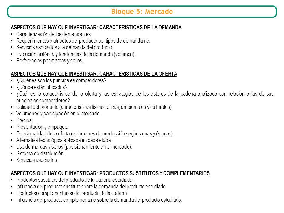 Bloque 5: Mercado ASPECTOS QUE HAY QUE INVESTIGAR: CARACTERISTICAS DE LA DEMANDA Caracterización de los demandantes. Requerimientos o atributos del pr
