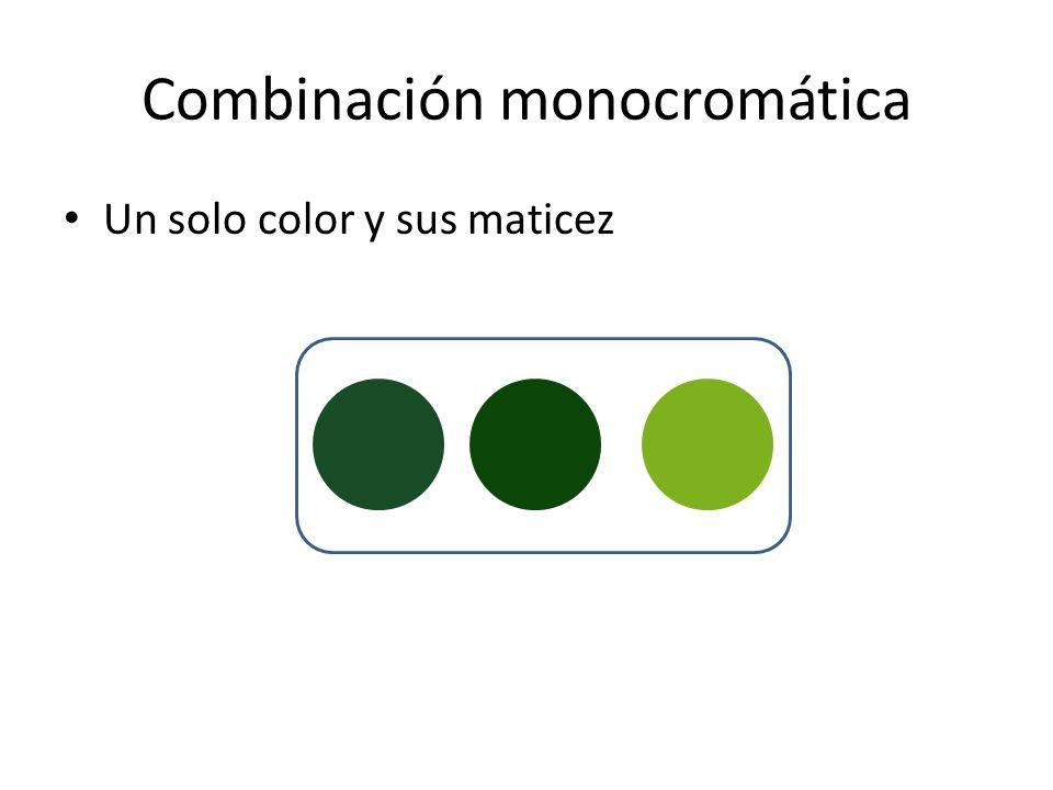 Combinación monocromática Un solo color y sus maticez