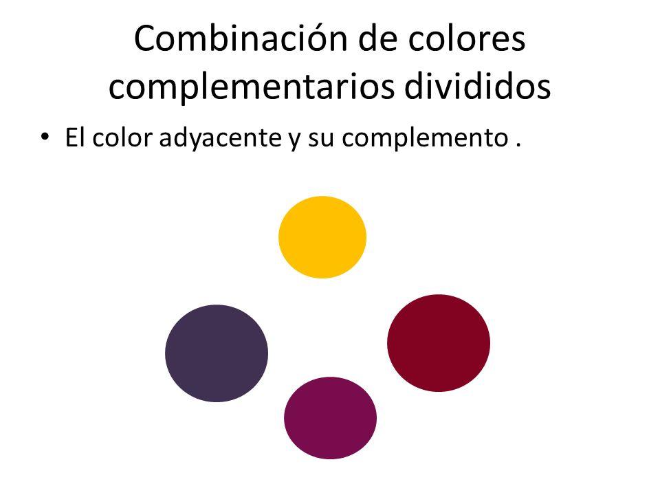 Combinación de colores complementarios divididos El color adyacente y su complemento.