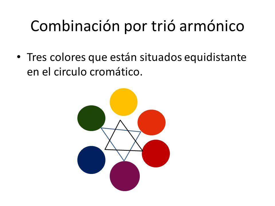 Combinación por trió armónico Tres colores que están situados equidistante en el circulo cromático.