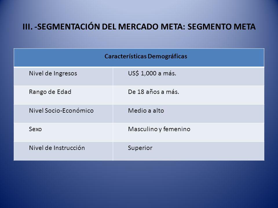 III. -SEGMENTACIÓN DEL MERCADO META: SEGMENTO META Características Demográficas Nivel de IngresosUS$ 1,000 a más. Rango de EdadDe 18 años a más. Nivel