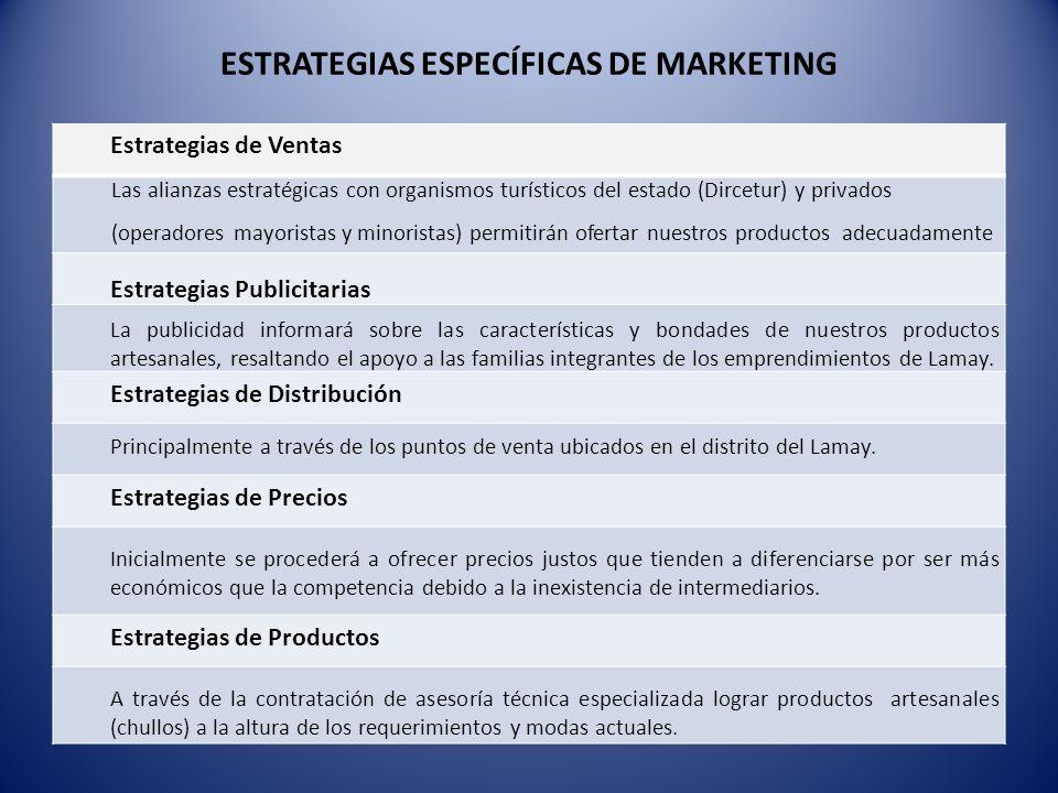 ESTRATEGIAS ESPECÍFICAS DE MARKETING Estrategias de Ventas Las alianzas estratégicas con organismos turísticos del estado (Dircetur) y privados (opera