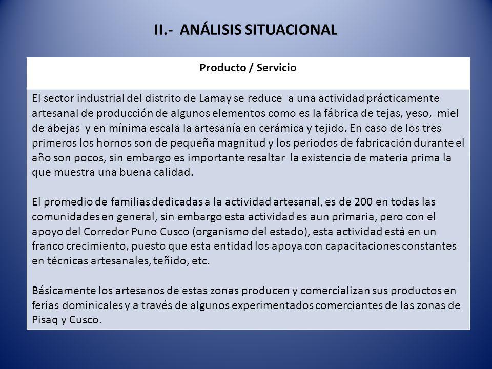 II.- ANÁLISIS SITUACIONAL Producto / Servicio El sector industrial del distrito de Lamay se reduce a una actividad prácticamente artesanal de producci
