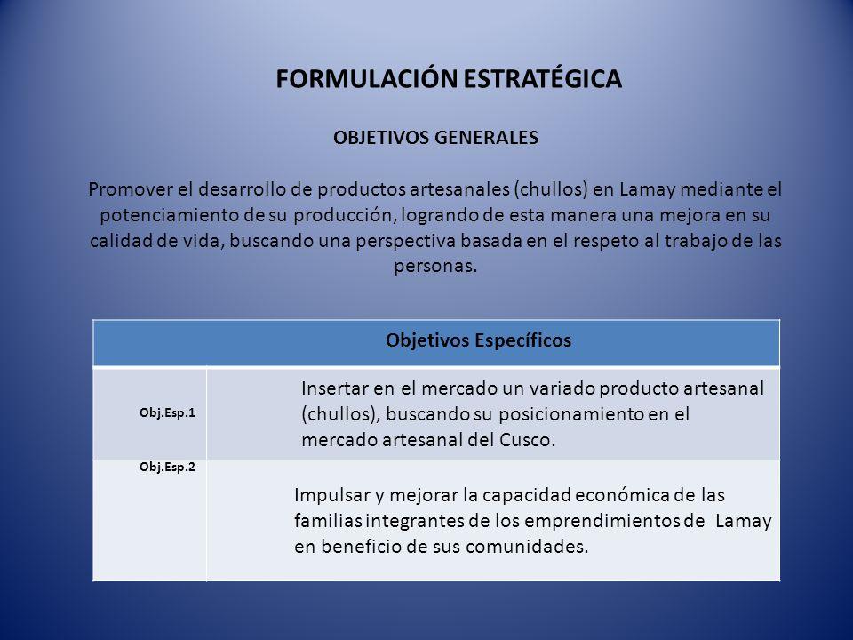 OBJETIVOS GENERALES Promover el desarrollo de productos artesanales (chullos) en Lamay mediante el potenciamiento de su producción, logrando de esta m
