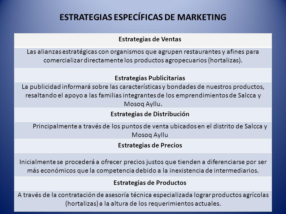 ESTRATEGIAS ESPECÍFICAS DE MARKETING Estrategias de Ventas Las alianzas estratégicas con organismos que agrupen restaurantes y afines para comercializar directamente los productos agropecuarios (hortalizas).