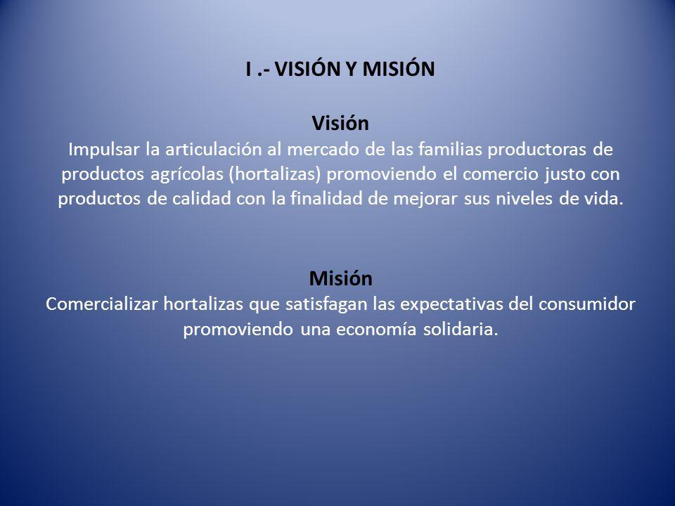 I.- VISIÓN Y MISIÓN Visión Impulsar la articulación al mercado de las familias productoras de productos agrícolas (hortalizas) promoviendo el comercio justo con productos de calidad con la finalidad de mejorar sus niveles de vida.