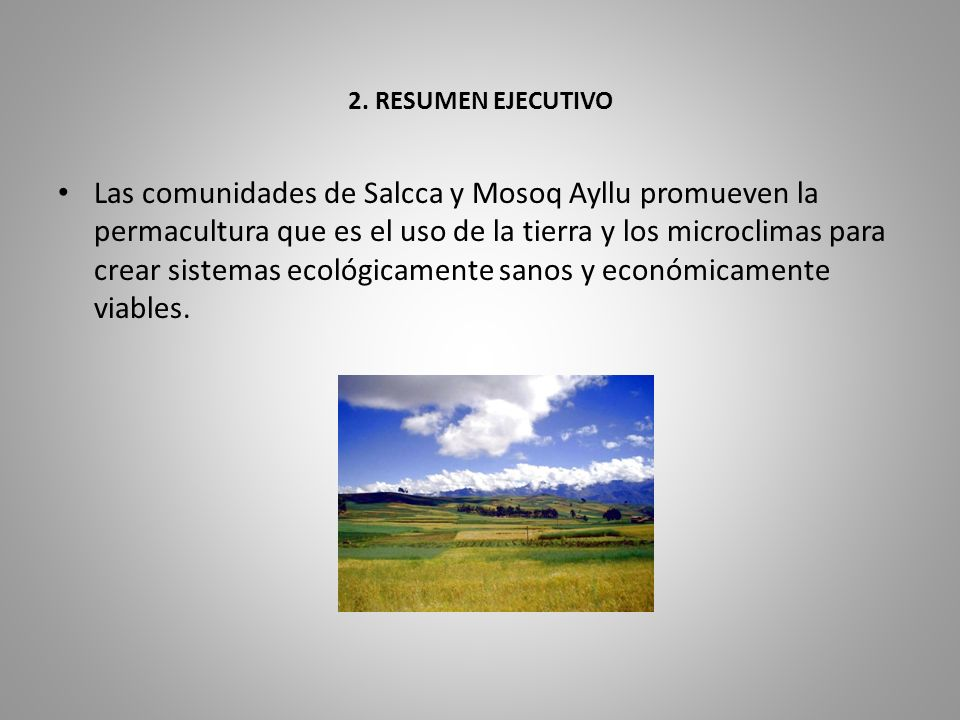 2. RESUMEN EJECUTIVO Las comunidades de Salcca y Mosoq Ayllu promueven la permacultura que es el uso de la tierra y los microclimas para crear sistema