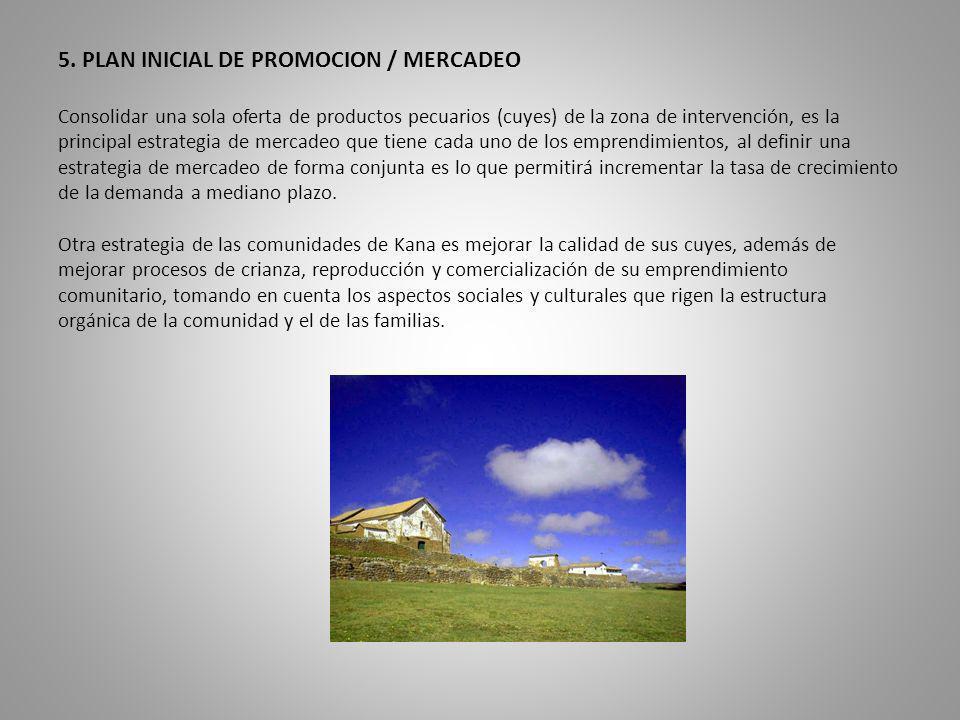 5. PLAN INICIAL DE PROMOCION / MERCADEO Consolidar una sola oferta de productos pecuarios (cuyes) de la zona de intervención, es la principal estrateg