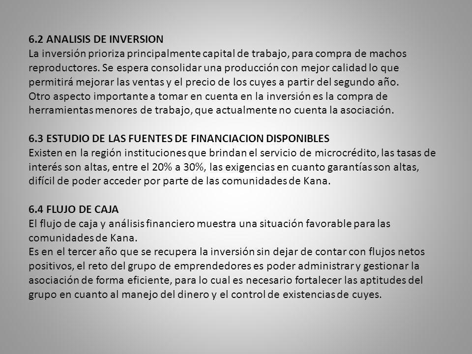 6.2 ANALISIS DE INVERSION La inversión prioriza principalmente capital de trabajo, para compra de machos reproductores. Se espera consolidar una produ