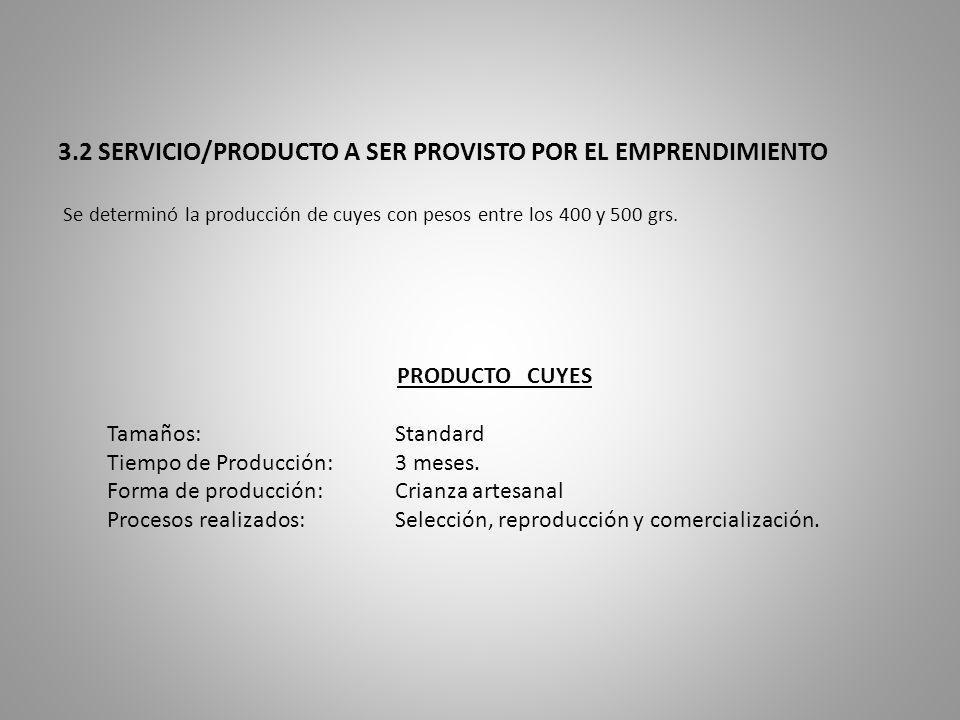 3.2 SERVICIO/PRODUCTO A SER PROVISTO POR EL EMPRENDIMIENTO Se determinó la producción de cuyes con pesos entre los 400 y 500 grs. PRODUCTO CUYES Tamañ