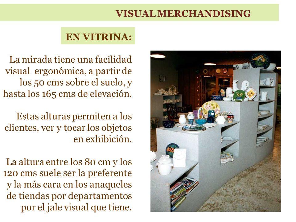 VISUAL MERCHANDISING EN VITRINA: La mirada tiene una facilidad visual ergonómica, a partir de los 50 cms sobre el suelo, y hasta los 165 cms de elevación.