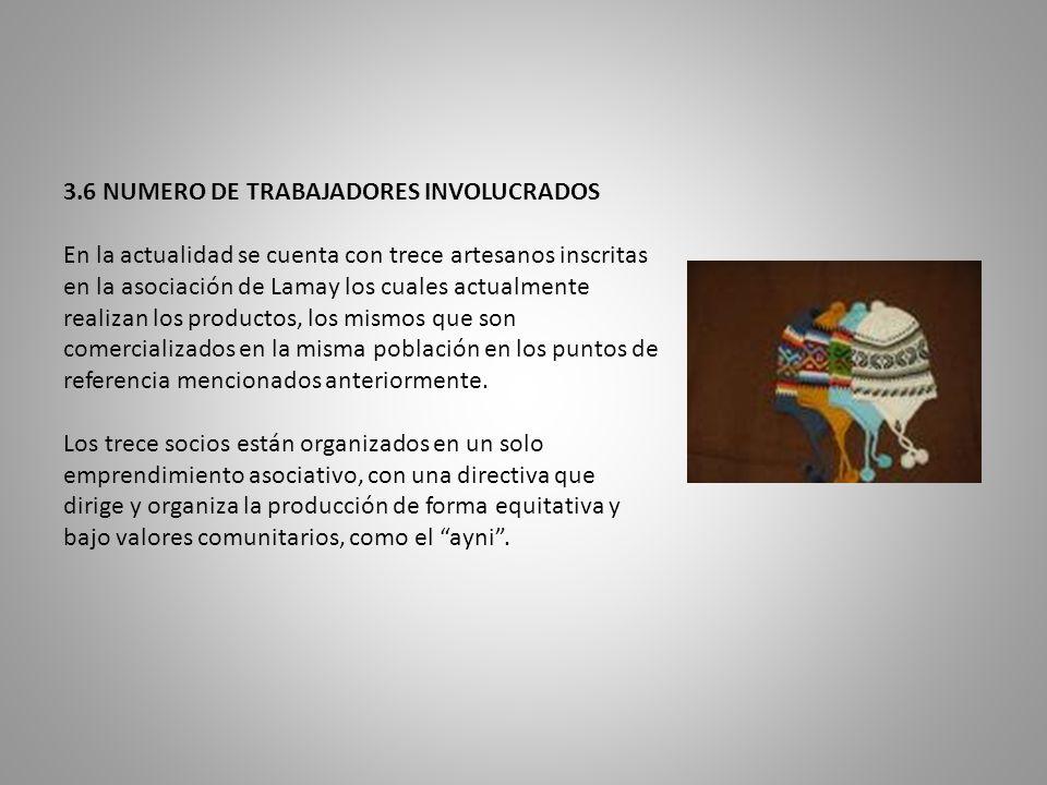 3.6 NUMERO DE TRABAJADORES INVOLUCRADOS En la actualidad se cuenta con trece artesanos inscritas en la asociación de Lamay los cuales actualmente realizan los productos, los mismos que son comercializados en la misma población en los puntos de referencia mencionados anteriormente.
