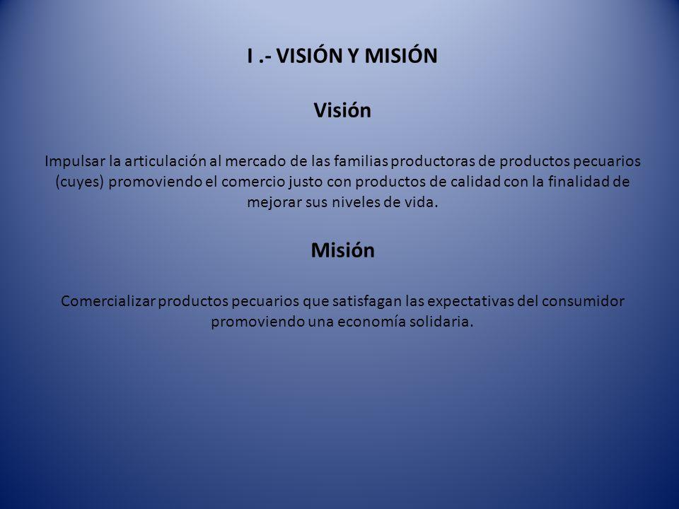 I.- VISIÓN Y MISIÓN Visión Impulsar la articulación al mercado de las familias productoras de productos pecuarios (cuyes) promoviendo el comercio just