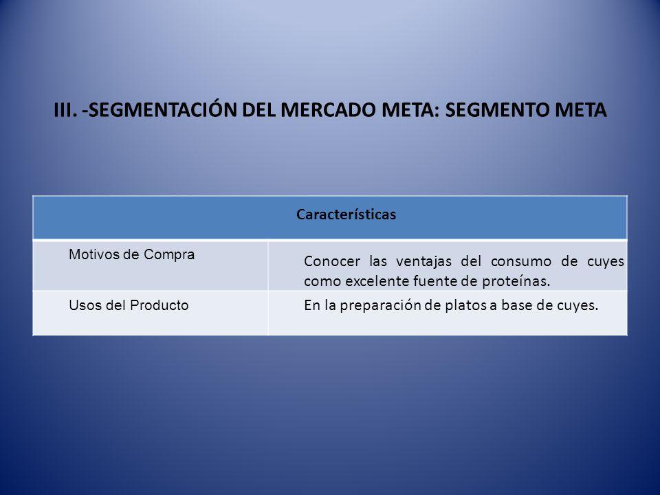 III. -SEGMENTACIÓN DEL MERCADO META: SEGMENTO META Características Motivos de Compra Conocer las ventajas del consumo de cuyes como excelente fuente d