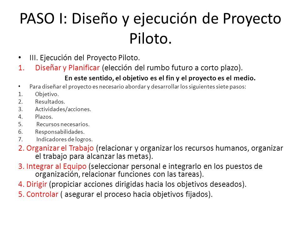 III. Ejecución del Proyecto Piloto. 1.Diseñar y Planificar (elección del rumbo futuro a corto plazo). En este sentido, el objetivo es el fin y el proy