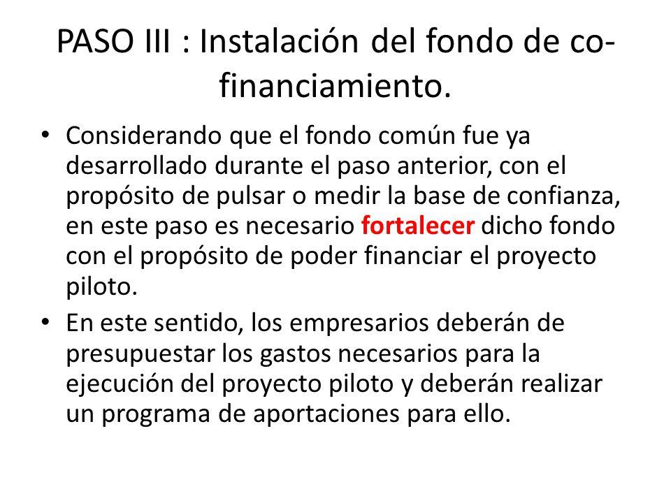 PASO III : Instalación del fondo de co- financiamiento. Considerando que el fondo común fue ya desarrollado durante el paso anterior, con el propósito