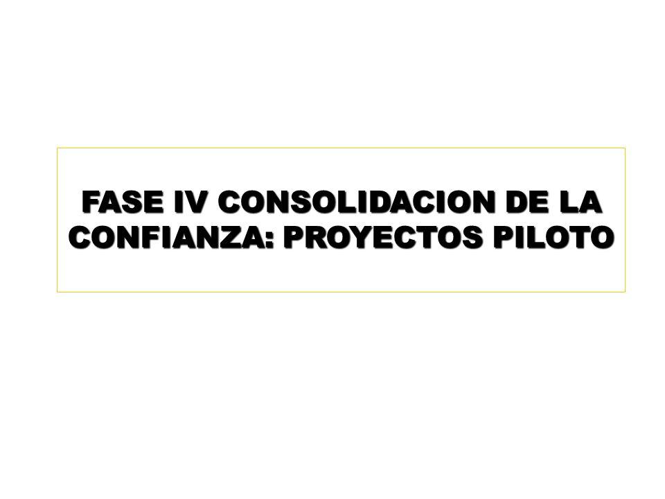 FASE IV CONSOLIDACION DE LA CONFIANZA: PROYECTOS PILOTO