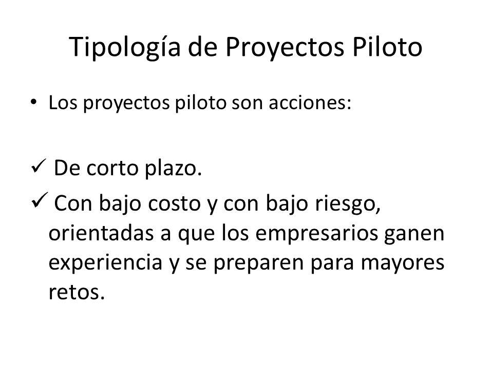 Tipología de Proyectos Piloto Los proyectos piloto son acciones: De corto plazo. Con bajo costo y con bajo riesgo, orientadas a que los empresarios ga