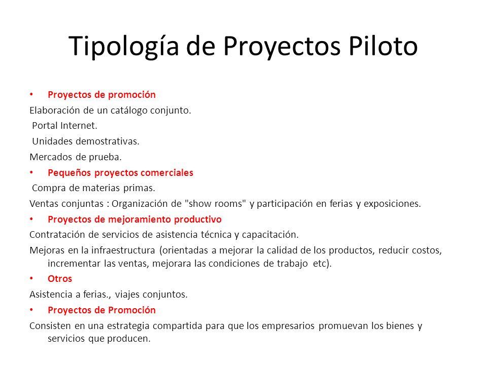 Proyectos de promoción Elaboración de un catálogo conjunto. Portal Internet. Unidades demostrativas. Mercados de prueba. Pequeños proyectos comerciale
